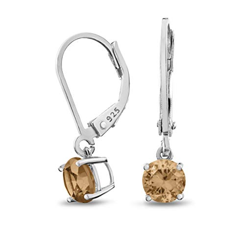 Rhodium Plated Sterling Silver Basket Setting 5mm Round Champagne CZ Leverback Dangle Earrings