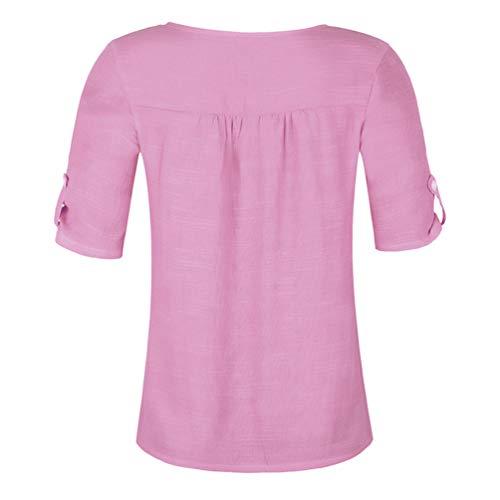 Col Yujeet Couleur Classique Chemise Unie Casual Party Femme Rond Mode Manches Blouse Violet Courtes Tops 5XwwxrqU