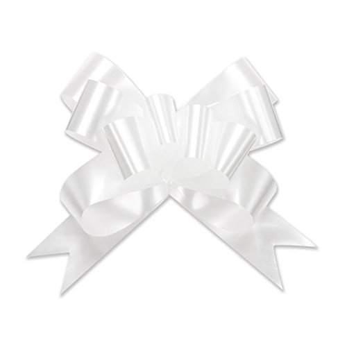 Berwick Offray 3900001 Butterfly Ribbon Pull Bow, 2'' Diameter with 8 Loops, White 100 Pieces ()