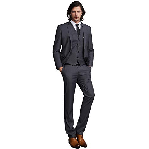 YIMANIE Mens Solid 3-Piece Suit One Button Formal Jacket Pants Vest Set Blazers, Dark Grey, Medium by YIMANIE