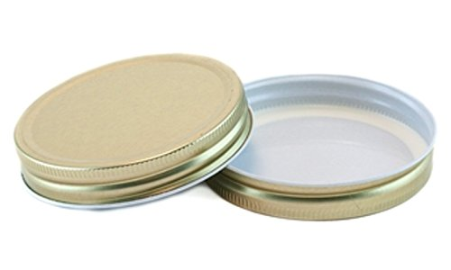 Wide Mouth Mason Jar One Piece Canning Lids, Set of 4 - Gold Metal with Plastisol Hi Heat Liner for Water Bath & Pressure Canning - Fits Ball Wide Mouth and Orchard Road Wide Mouth Jars