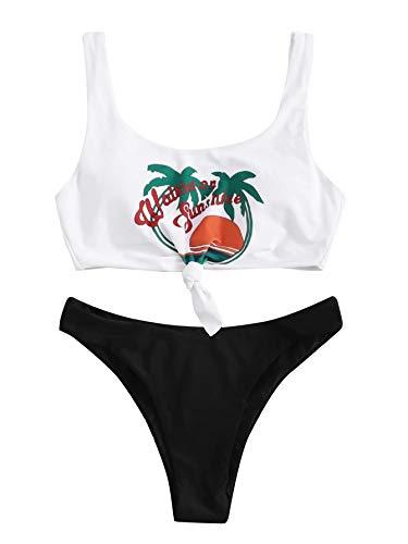 SweatyRocks Women's Cute Swimsuits Scoop Neck Knot Print Bikini Swimwear Set White Large