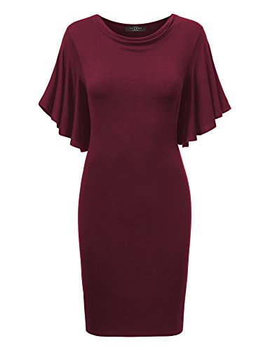 Come Together California CTC WDR1256 Womens Cowl Neck Short Flutter Sleeve Dress XXXL Wine