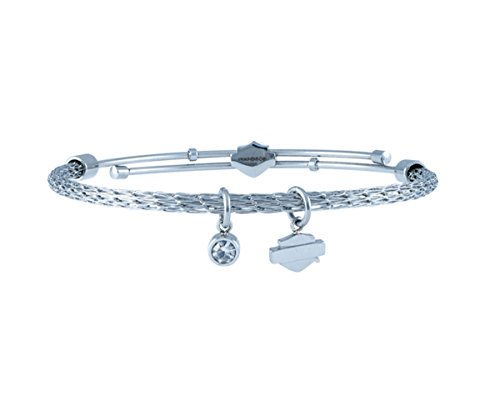 Harley-Davidson Womens Stainless Steel Silver Tone with B&S Charm Mesh Bangle Bracelet - Harley Jewelry