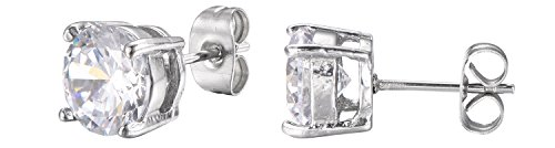 d Cut White Cubic Zirconia Stud Earrings With Push Backings -8mm- By Regetta Jewelry ()