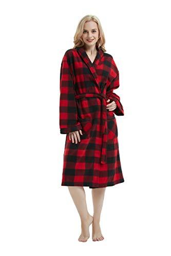 (Womens Fleece Robe Long Bathrobe Man Hotel Spa Plaid Robe red Plaid XL)
