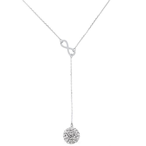 (Infinity Y Necklace with 10mm Crystal Drop in Sterling Silver)