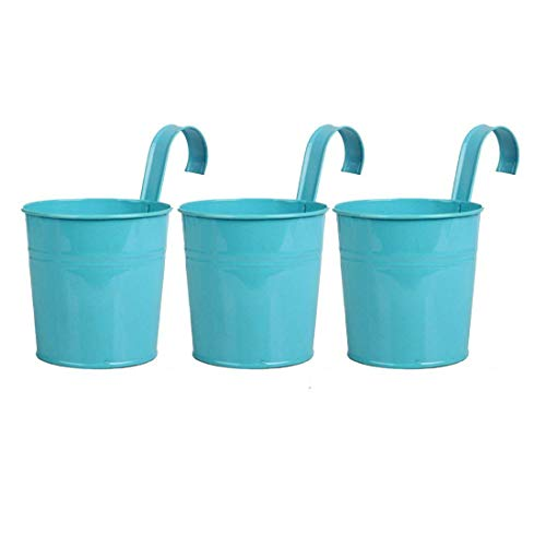 Setmas Light Blue Hanging Flower Pots Round Metal Bucket Planters Pot Balcony Wall-mounted Flower Pot For Plant and Flower 6 Inch 3 Pack