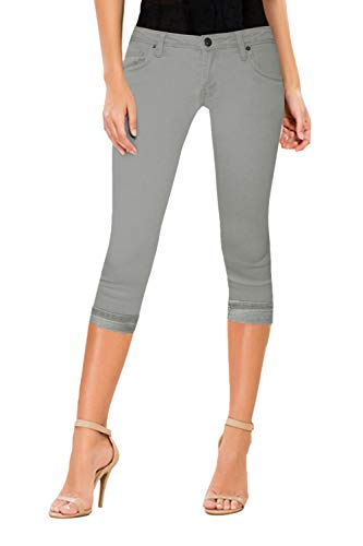 HyBrid & Company Women's Perfectly Shaping Stretchy Denim Capri-Q22882X-GREY-18