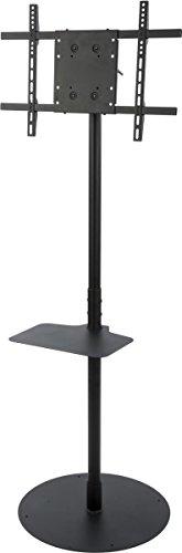 Displays2go TVSDP4060B TV Stand for Floor for 32-60 Inches HDTVs, Tilting Bracket and Adjustable Shelf (Black Steel)