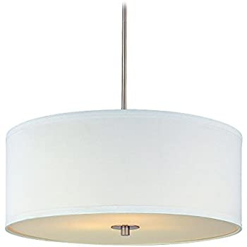 drum pendant lighting. Modern Drum Pendant Light With White Shade In Satin Nickel Finish Lighting M