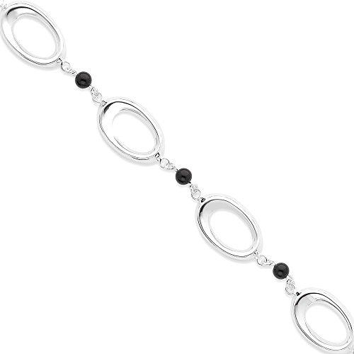 Oval Black Onyx Stone Bracelet - 7