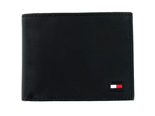 Tommy Hilfiger Men's Black Leather RFID Wallet & Valet