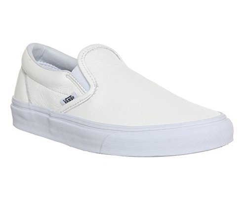 Vans Classic Slip-On, Sneakers, Unisex adulto, bianco (Premium Leather White Mono), 41 EU