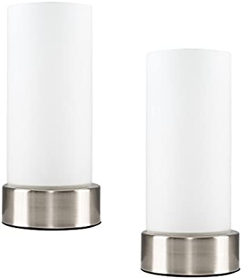 Pair of Chrome Touch Bedside Table Lamps with White Glass Shades