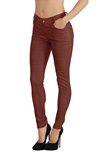 Fit Division Women's Jean Look Cotton Blend Jeggings Tights Slimming Full Lenght Capri Bermuda Shorts Leggings Pants S-3XL (L US Size 10-12, FDJN827-COF)