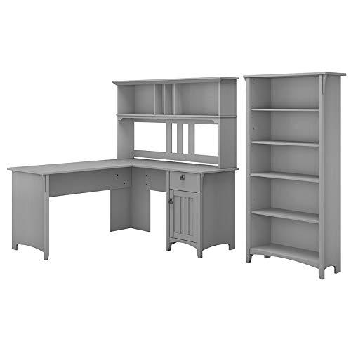 Bush Furniture Salinas 60W L Shaped Desk with Hutch and 5 Shelf Bookcase in Cape Cod Gray