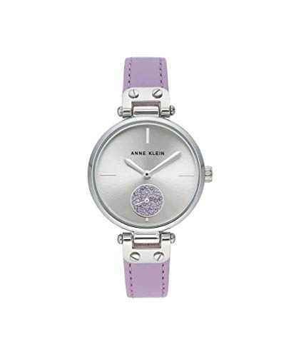 Anne Klein Women's AK/3381SVLV Swarovski Crystal Accented Silver-Tone and Lavender Leather Strap Watch