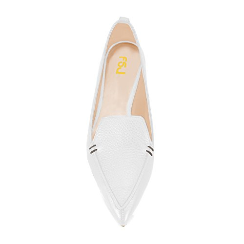 Heels 4 Low Women FSJ Slip Size 15 Shoes matte Fashion for Pumps Toe White on Pointed IFwwg7qX