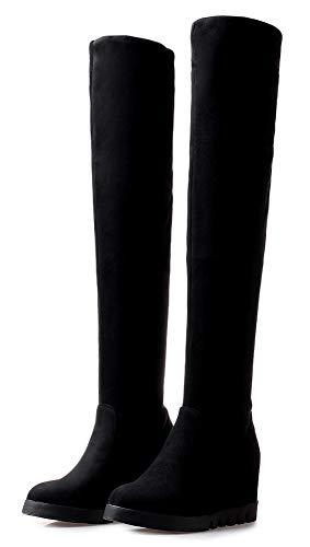 Noir Femme Au Compensées Du dessus 8cm Aisun Chaussures Mode Genou Bottes ZUxXnwWv