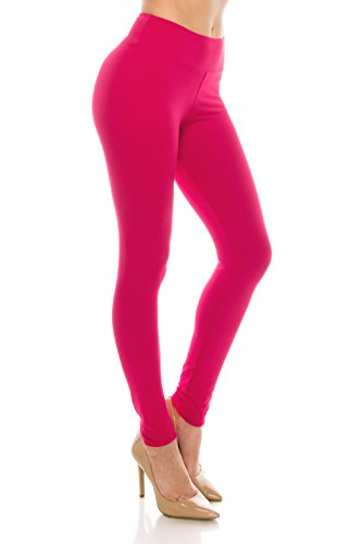 - ALWAYS Leggings Women High Waist - Premium Buttery Soft Yoga Workout Stretch Solid Pants Fuchsia Plus,Junior Plus Size (XL-2XL)