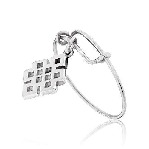 Alex and Ani Women's Precious Expandable Wire Ring Silver Endless Knot One Size