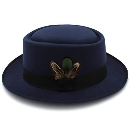 Women's Classic Wool Felt Black Pork Pie Hat Jazz Fedora Hat Trilby Stingy Brim Feather Cap ()
