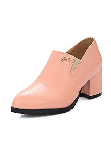 GGX/ Damenschuhe-High Heels-Kleid-Kunstleder-Blockabsatz-Absätze / Rundeschuh-Schwarz / Rosa / Mandelfarben pink-us10.5 / eu42 / uk8.5 / cn43