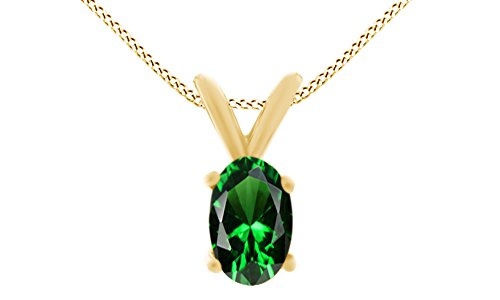 Oval Shape Simulated Green Emerald Pendant Necklace in 14k Gold Over Sterling Silver(1.5 Ct)