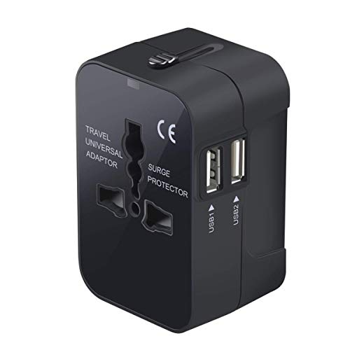 Travel Adapter, Trvaadpta Universal All in One International Worldwide Wall Charger AC Power Plug Adapter with Dual USB Ports for USA EU UK AUS 180 Countries