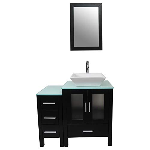 - Tonyrena 36 inch Bathroom Vanity in Black with Mirror and Tempered Glass Countertop,Include White Square Vessel Sink Set