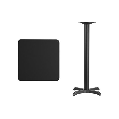 "Flash Furniture 24"" Square Black Laminate Table Top with 22"" x 22"" Bar Height Table Base For Sale"