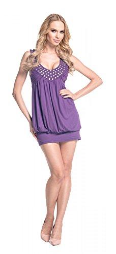024 Pourpre Robe studs top Glamour boule sans avec manches tunique Empire Femme Mini Pwwtx67U