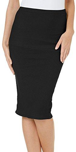 Hot Kiss Juniors Solid Ribbed Midi Skirt Medium Black