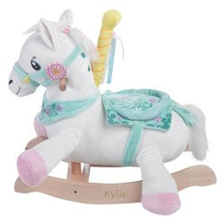 Ababy Personalized Carousel Horse Plush Rocker- Engraving/Pink Paint (Plush Paint Horse)