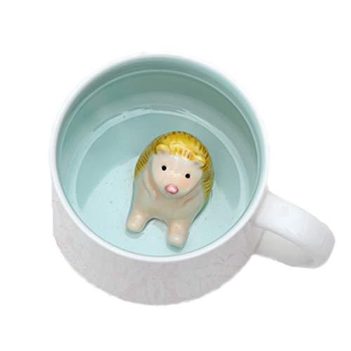 (ZaH 3D Animal Coffee Mug Morning Cup Cute Figurines Christmas Birthday Gift for Women Men Boys Girls (12 oz) Hedgehog)