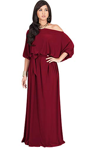 KOH KOH Petite Womens Long Sexy One Off Shoulder Flowy Casual 3/4 Short Sleeve Cocktail Wedding Party Guest Maternity Gown Gowns Maxi Dress Dresses, Crimson Dark Red S 4-6]()
