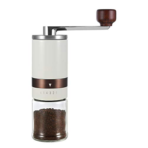 Classy Manual Coffee Grinder – Vintage Hand Coffee Mill with Ceramic Burrs 6 Adjustable Settings – Portable Hand Crank…