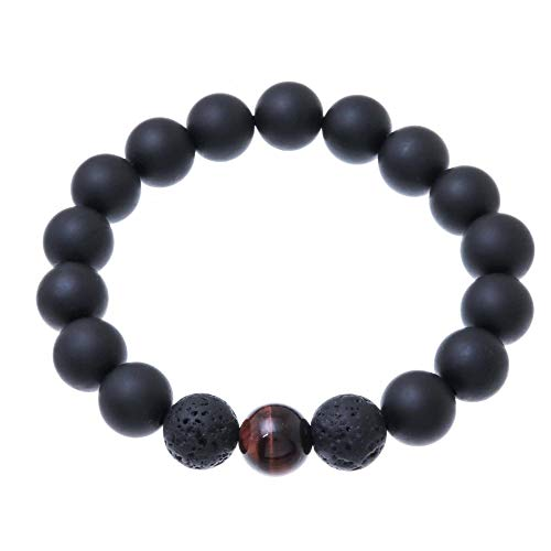 NOVICA Onyx and Tiger's Eye Beaded Stretch Bracelet, 'Dark Sophistication In Red'