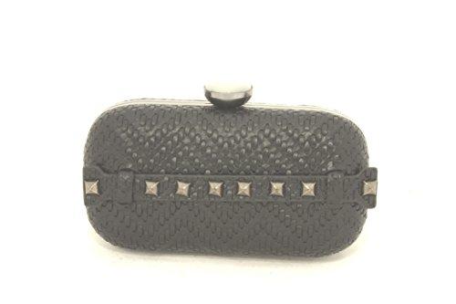 AwAy bolsa de embrague tejido twist espárragos con correa para el hombro polso bag clutch ring diamond pochette Negro