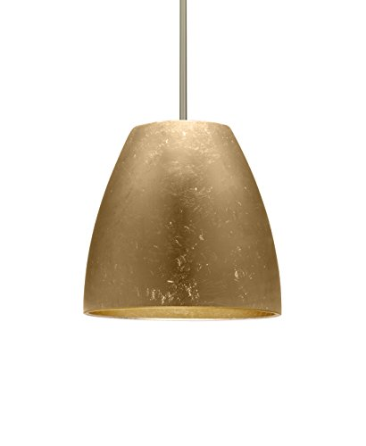 Besa Lighting 1TT-BELL14GF-LED-SN Besa, Bella 14 Stem Pendant, Gold Foil, Satin Nickel Finish, 1x17W Replaceable LED