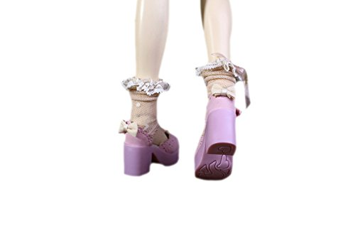 DocaMall Leather Platform Strappy Stiletto High-heel Shoes for BJD Doll Toy, 1/4 Mini Kid Bjd Loli Doll Shoes for BJD Accessories/Pink