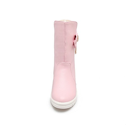 BalaMasa Womens Mid-Calf Velvet Lining  Bows Urethane Boots ABL10567 Pink 2nM2XpWPe