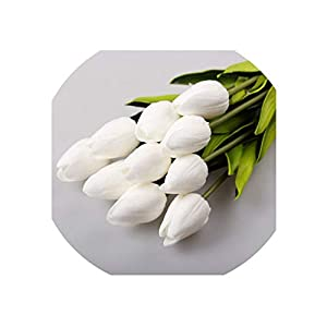21pcs/lot PU Fake Artificial Flower Bouquet Real Touch Silk Tulip Flowers for Party Wedding Home Decoration Flower,White 95