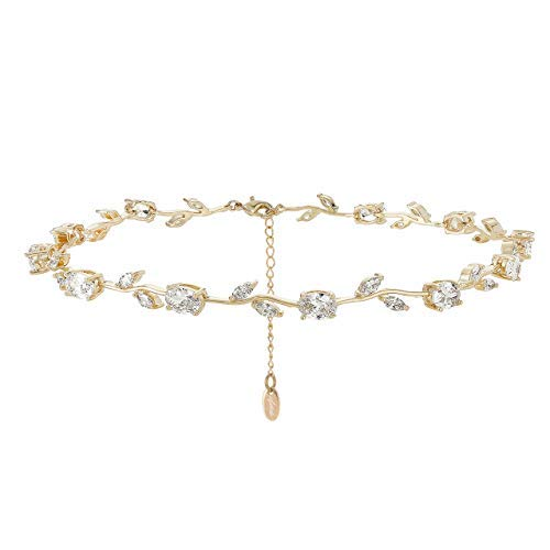 Nikita By Niki Rose Flower Statement Crystal Rhinestone Choker Necklace for Women (Gold)