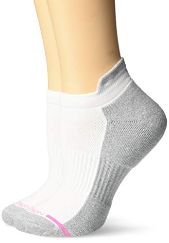 Dr. Motion Women's 2PK Compression Low Cut Socks, White Solid, ONE SIZE ()