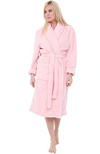 Alexander Del Rossa Womens Fleece Robe, Plush Microfiber Bathrobe, Small Medium Pink Rose Quartz (A0302RSQMD) -