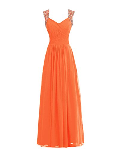 Tidetell V-neck Bridesmaid Chiffon Prom Dresses Long Evening Gowns Orange Size 14