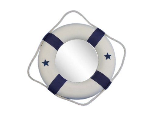 Hand Craft Model Hampton Nautical  Classic White Lifering...