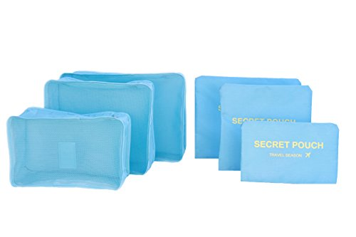 6 sets travel Organizers Packing Cubes Luggage Organizers Compression Pouches (Light blue)